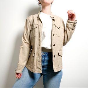 Vintage Tan Cotton Shacket Style Utility Jacket